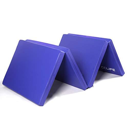 CCLIFE 180x60x5 Tappeto da Palestra Pieghevole Morbido per casa, Fitness, Sport con 4 Tipi Antiscivolo, Colore:Blu