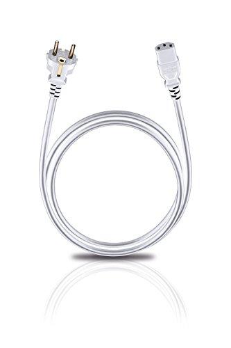 Oehlbach Powercord C13 / 300 - Netzkabel mit Schukostecker & Kaltgerätekupplung - VDE geprüft - Hochflexibel, hervorragende Kontaktsicherheit - 3 m - weiß