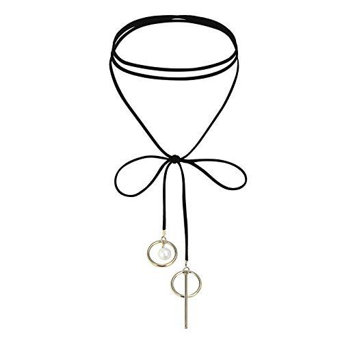 Daesar Mujer Gargantilla Acero Inoxidable Perla 2 Circles Velet Choker Oro Negro Choker Collar, 150CM