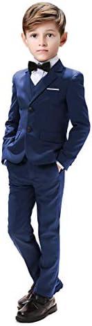 Suit for Boys Wedding 5 Pieces Suits Sets Blazer Vest Pants Shirt and Bowtie Size 5 Blue product image
