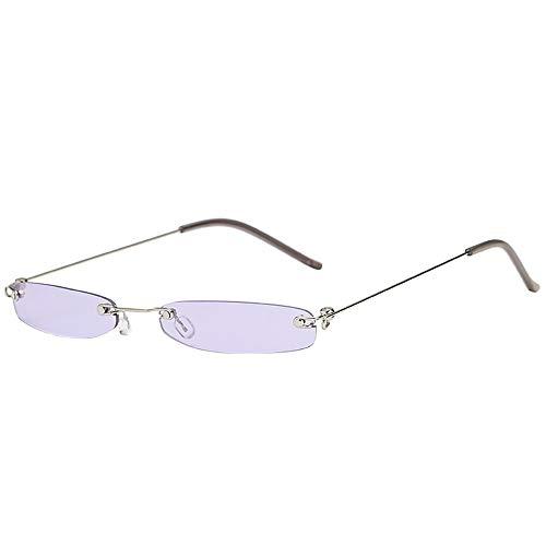 Jumaocio Women Men Small Rectangular Metal Frame Sunglasses Vintage Glasses Eyewear(C)