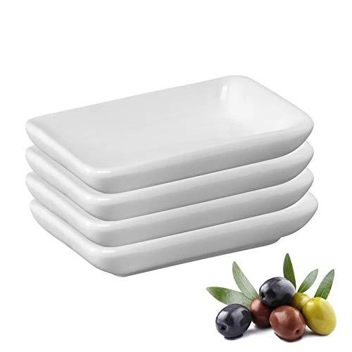 Westmark 4 Keramiktöpfchen/Servierschälchen, rechteckig, klein, Maße: 7,8 x 5 x 1,5 cm, Keramik, Tapas + Friends, Weiß, 6975224A