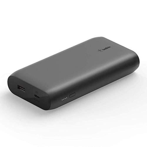 Belkin batería externa USB-C PD 20K, cargador rápido portátil con puertos USB-C y USB, power bank para MacBook, iPhone12, 12Pro, 12Pro Max, 12 mini y modelos anteriores, negro