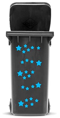 Domus House Signs Mülltonnen Aufkleber Set: Sterne - 41 Sternaufkleber in Zwei Größen (4,5cm und 2,5cm) zum Dekorieren Ihrer Mülltonne oder Anderen glatten Oberfläche, Schriftfarbe:hellblau