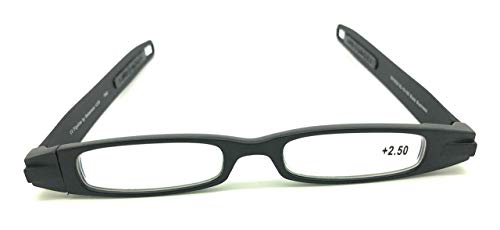 Reading Glasses Figoline Flat Folding Pod Readers Black-Strength +2.50