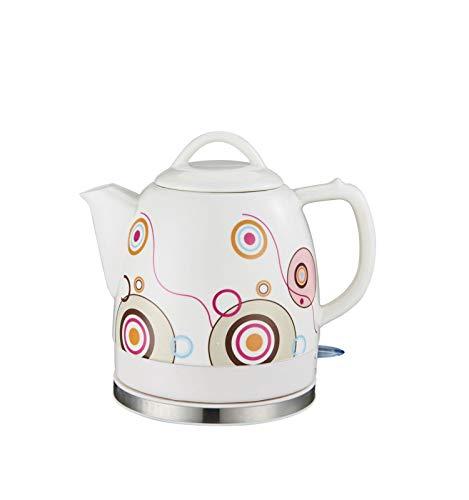 Ceramica electrica sin Cuerda Blanca Hervidor Tetera Retro-1.2L Jarro, 1200W Agua rapida for el te, cafe, Sopa, harina de Avena-extraible Base, Proteccion seco Hervir.