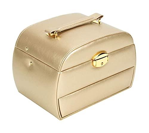 LSLS Caja joyero Caja de almacenamiento de joyas, 3 capas Organizador de caja de joyería con cajón de espejo Apertura semiautomática y cierre de cuero para pendientes Anillos Collares Organizador de j