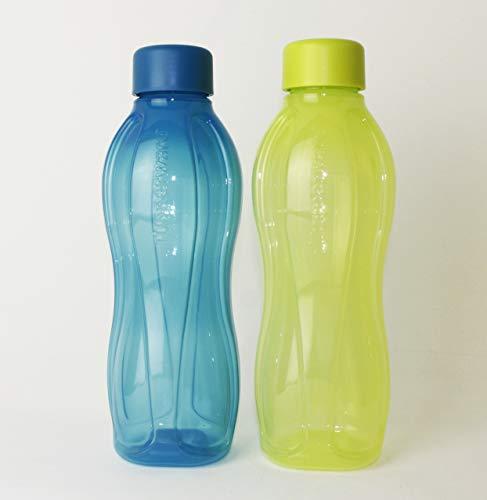 TW TUPPERWARE Trinkflasche EcoEasy 2X 750ml Türkis + Limette mit Schraub Verschluss Flasche unterwegs to go +Hängelöffel Limette