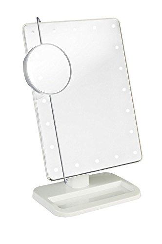 fourHeart Kosmetikspiegel Make-up Spiegel mit LED Beleuchtung Dimmbar durch Touch-Schalter, 20 LEDs bewegliche 10x Lupe Ultra-High Definition Standspiegel für Badezimmer Schlafzimmer Dressing (Weiß)