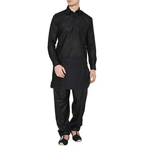 Kurta Royal Men's Black Classic Collar Cotton Blend Pathani and Salwar