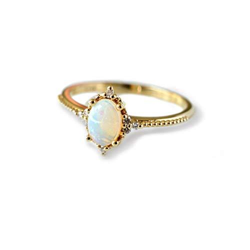 KnSam Verlobung Ring Gold Bandringe Silber Ovaler Opal Aus Kupfer Schmuck Für Damen Mädchen Gold