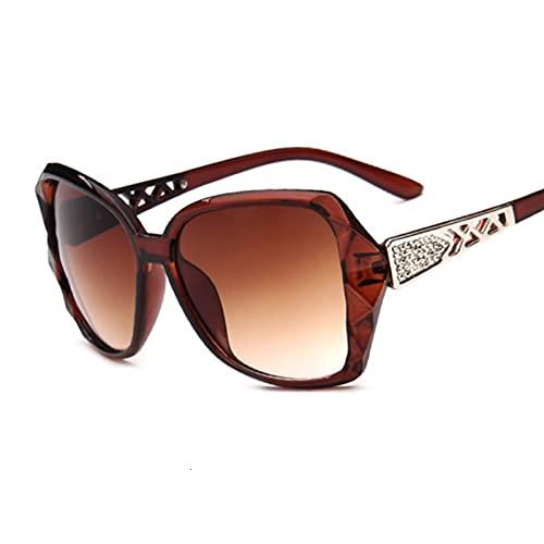 SLAKF Gafas duraderas Gafas de Sol Redondas Mujeres Espejo Vintage Negro Gafas de Sol Hembra (Lenses Color : Brown)