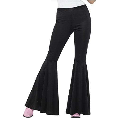 Amakando Pantaloni a Campana Anni 70 - S/M (IT 38 - 44) | Pantaloni a Zampa d'elefante da Donna Color Nero | Pantaloni retrò Hippie | Calzoni da Hippy