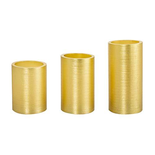 Pack de 3 Velas LED Cera Natural Special Flame Dorado Oro