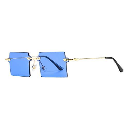 Gafas De Sol Nuevas Gafas De Sol Rectangulares Pequeñas para Mujer, Gafas De Sol Cuadradas Sin Montura para Mujer, Estilo Veraniego, Uv400, Verde, Marrón, C6Lakeblue