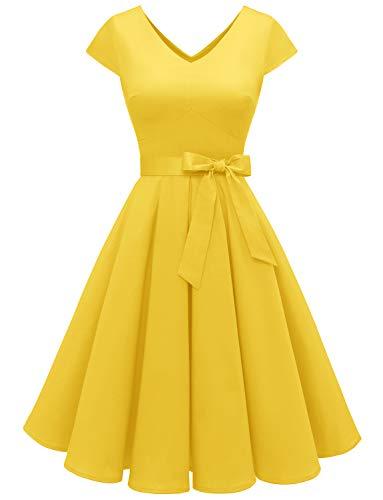Aupuls Damer cocktailklänning 50-tals mössa ärmar enfärgad rockabilly Swing klänningar
