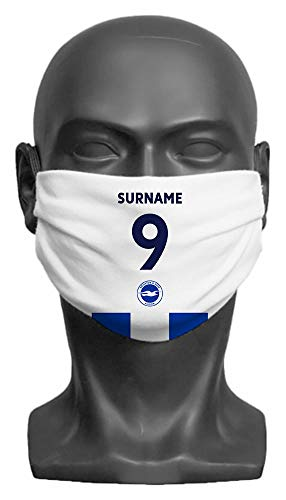 Personalised Compatible With Brighton & Hove Albion FC Back Of Shirt Adult Face Mask- Large