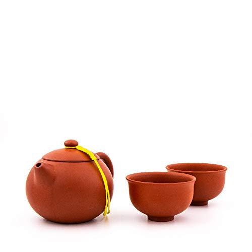 Yixing Teekanne mit 180 ml | Chinesische Teekanne aus hochwertigem Yixing Ton mit Zwei Tassen aus Yixing Ton | Zisha Teekanne (rot)