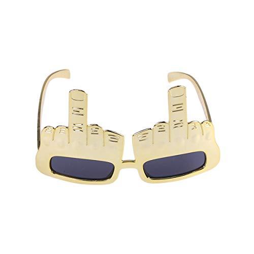 STOBOK Gafas de sol de fiesta con dedo Novedad Divertidas Gafas para Halloween Masquerade Party Props Dorado