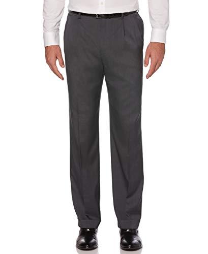 Savane Men's Pleated Stretch Crosshatch Dress Pant, Charcoal, 36W x 32L