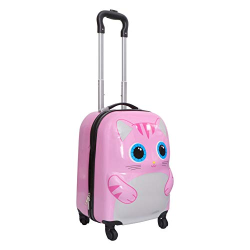 VALICLUD 18 Inches Pink Kids Luggage Carry on Suitcase Bag Hard Shell Cat Travel Luggage Backpack Trolley Rolling Luggage for Toddlers Children