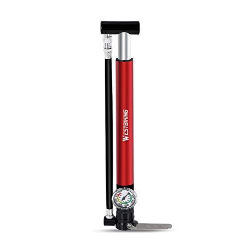 ICOCOPRO Pompa per bicicletta con manometro, pompa ad aria portatile per tutte le valvole, 140 PSI, pompa ad aria per bicicletta, pompa da terra, per mountain bike, bici da corsa, ibrida, MTB, BMX