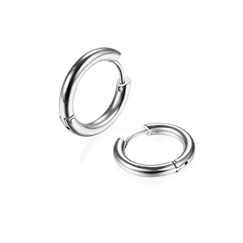 2Pcs 316L Surgical Stainless Steel Huggie Hoop Earrings 14mm Silver Plating Hinged Cartilage Piercing Sleeper Earrings for Men Womens Sensitive Ears(Silver 14mm)