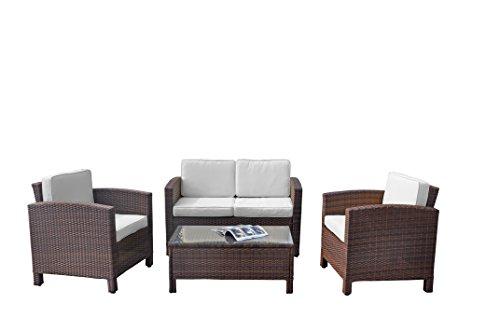 XINRO 13tlg. Deluxe Lounge Möbel Set Gruppe Garnitur Gartenmöbel Lounge Set Rattan Polyrattan Sitzgruppe - inkl. Lounge Sofa + Sessel + Tisch + Glasplatte + mit Kissen - In/Outdoor - handgeflochten - braun