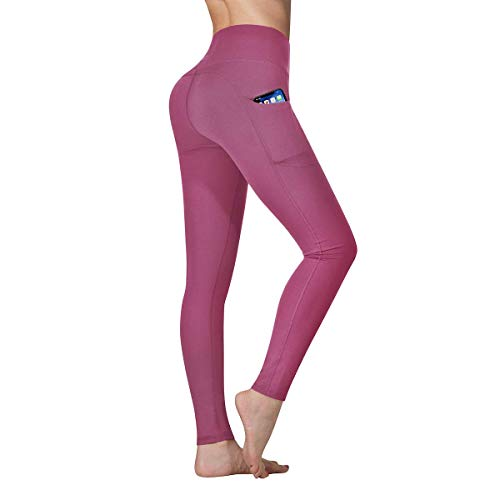 Vimbloom Leggings Fitness Donna Vita Alta Yoga Palestra Leggins Sportivi Pantaloni VI263(Begonia Rosa,M)