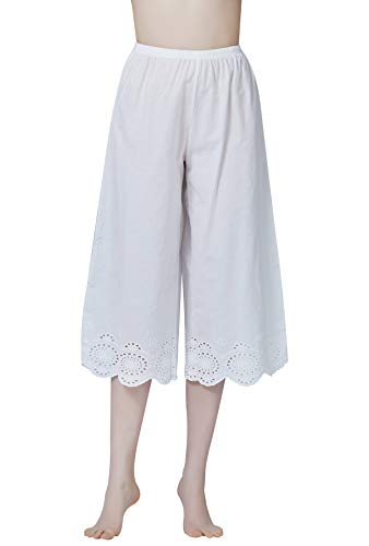 BEAUTELICATE Pettipants Hosenunterröcke 100% Baumwolle Hosenrock Für Damen Viktorianisches Schlafhose Weit Kurz Geschnittene Hose Mit Stickerei Elfenbein
