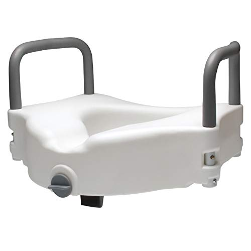 """Graham-Field Lumex 4.5"""" Raised Toilet Seat with Removable Arms and Locking Clamp for a Secure Fit, 6487RA-1, White"""