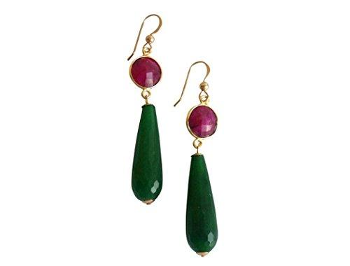 Gemshine - Pendientes de rubí y jade party drops, color de la gema verde
