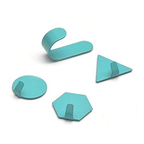KWHY 4-delige creatieve gratis punch muurhaak smeedijzeren kleine haak decoratie geometrie mini deur sterke kleverige haken badkamer, blauw