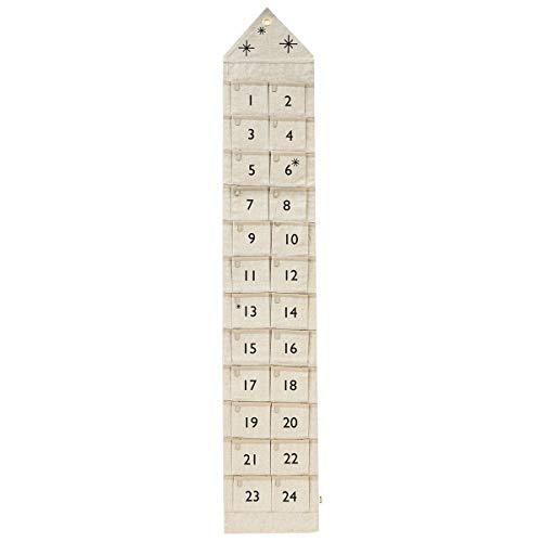 Ferm Living Adventskalender, Baumwolle, Sand, 25x150cm