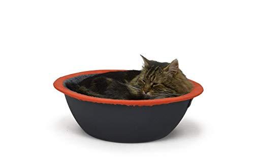 Hepper - Nest Cat Bed - Modern Cat Furniture - Cat Bowl with Removable & Washable Fleece Liner - Grey/Orange