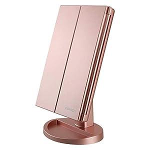 Espejo de Maquillaje con LED, Iluminado Espejo de Mesa Luz con Ampliación 1X / 2X / 3X Plegable Espejo de la Vanidad Rotación 180° Pantalla Táctil Espejo Cosmético para Hombre y Mujer (Oro Rosa)