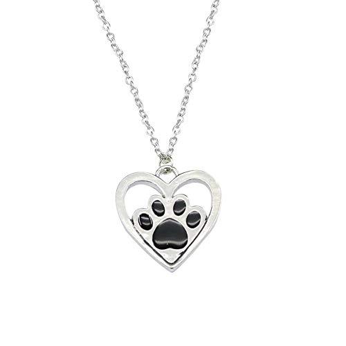 UINGKID Damen Halskette Anhänger SchmuckTropfendes Öl Hund Klaue Fußabdruck Liebe Halskette Anhänger Geometrischer Schmuck