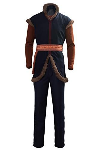 Disfraz de Kristoff para hombre, disfraz de adulto, disfraz de cosplay medieval peludo, pantalones de gamuza