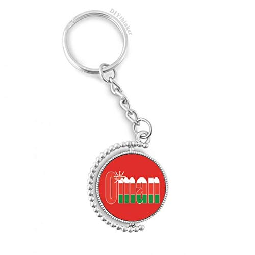 DIYthinker Oman Land Flagge Namen Drehbare Schlüsselanhänger Ringe 1.2 Zoll x 3.5 Zoll Mehrfarbig