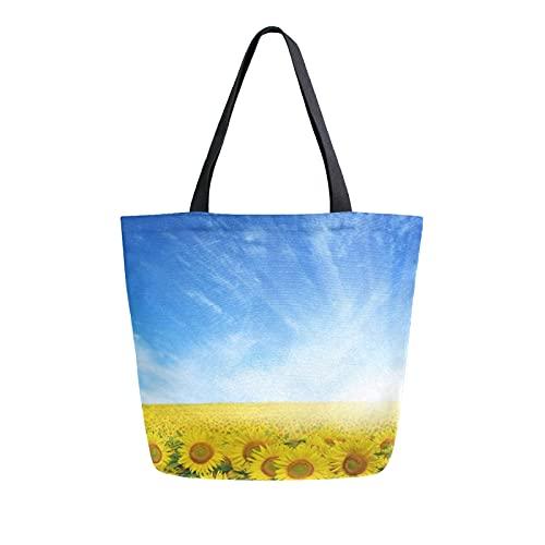 SunsetTrip - Bolsa de lona para mujer, diseño de girasoles con estampado floral y cielo