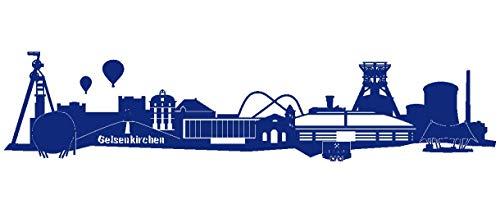 Samunshi® Wandtattoo Gelsenkirchen Skyline Schalke in 6 Größen und 19 Farben (120x27cm königsblau)
