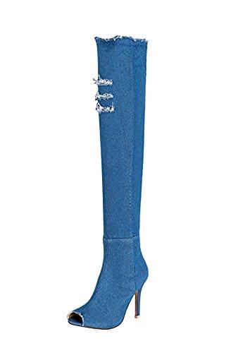 Minetom Damen Sommer Herbst Peep-toe Stiletto Absatz Stiefel Elastisch Denim Stiefeletten Oberschenkel Hohe Sandalen Boots Hellblau EU 35