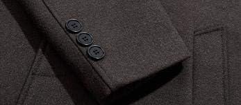Nomber 2 Colors Woolen Coat Men's Medium Length Windbreaker Wool Collar and Thick Winter Coat Wool Blend Full Long Trench