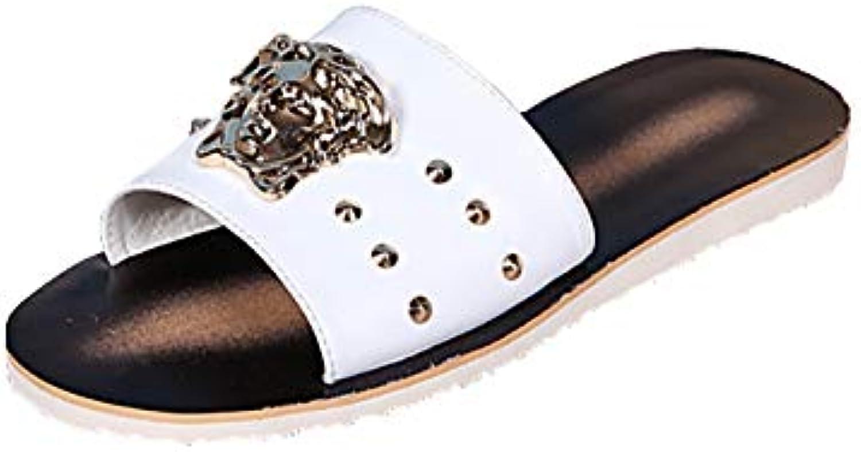 Mans sommar Sandals Open Toe strand skor s Roman Roman Roman läder Andable Rhinestones Comfortable Non Slip Dusch skor, vit  2018 senaste
