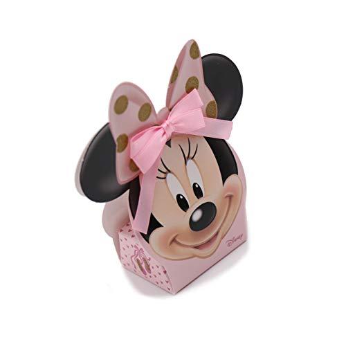 VialeMagico Bomboniere Minnie Disney Scatoline Battesimo Rosa e Oro Kit 10 Pezzi con Confetti