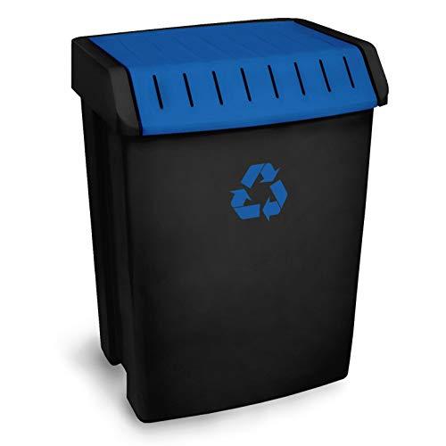 TATAY Contenedor Reciclaje para papel y cartón, Capacidad para 50 litros, Plástico polipropileno, Tapa basculante, Azul, y Negro 40.5 x 33.5 x 57.5 Cm