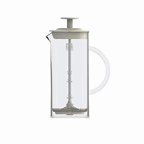 HARVESTFLY Milchaufschäumer aus Glas - Manueller Milchschäumer & French Press Milchschaum mit Edelstahlfilter 450 ML