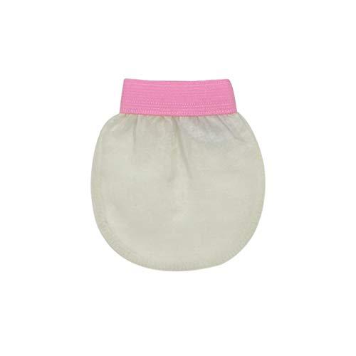 Feel Fine - Guante exfoliante facial exfoliante, manopla exfoliante facial de seda natural para hombres y mujeres, manopla para baño, ducha, hammam y spa (crema y rosa)