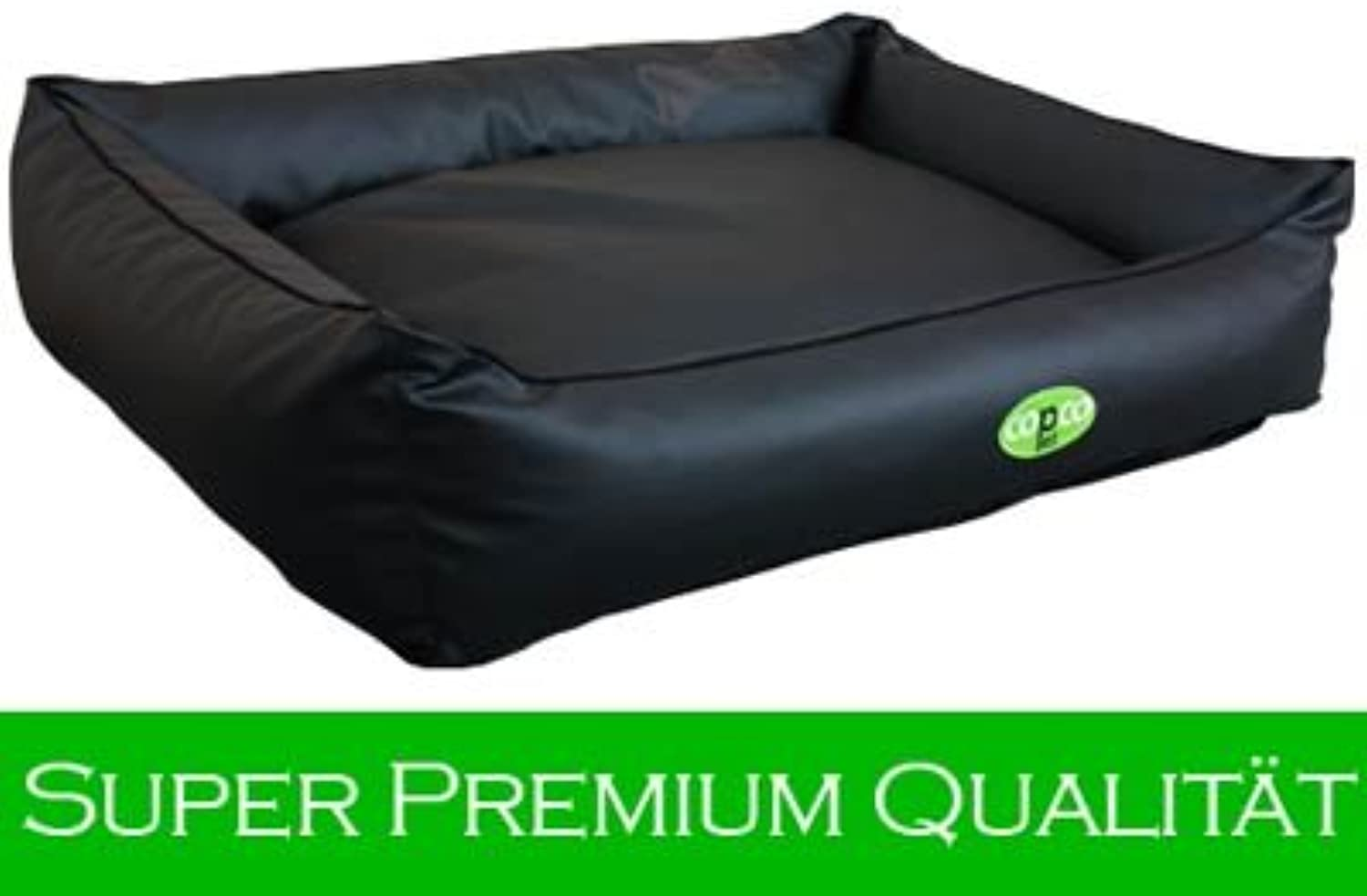 Paco Dog Bed Imitation Leather Black Available in 3 sizes