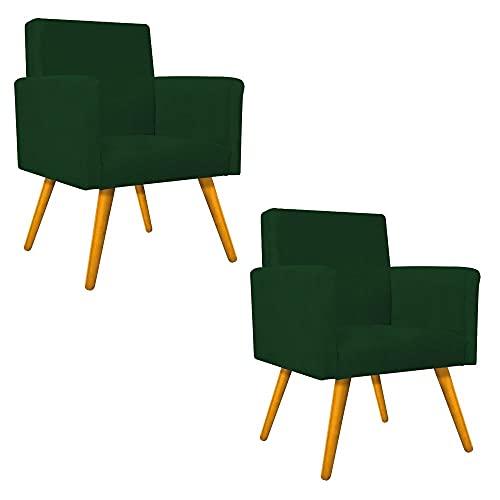 Kit 02 Poltronas Cadeiras Decorativas Pés Palito Nina para Sala de Estar Recepção Luxo Suede Verde - AM Decor